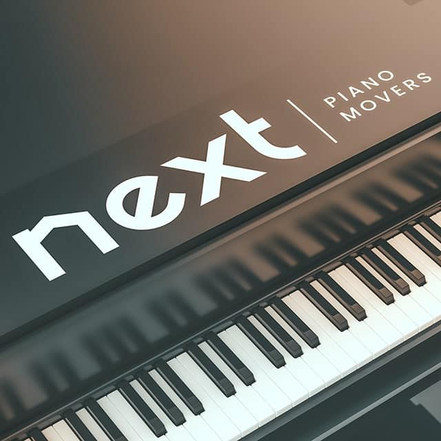 Next Moving piano movers logo on top of the baby grand piano represents Next Moving has a lot of professional piano movers near me to provide the best piano moving service.